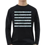 STRIPES2 BLACK MARBLE & ICE CRYSTALS Long Sleeve Dark T-Shirts
