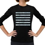 STRIPES2 BLACK MARBLE & ICE CRYSTALS Women s Long Sleeve Dark T-Shirts