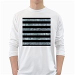 STRIPES2 BLACK MARBLE & ICE CRYSTALS White Long Sleeve T-Shirts