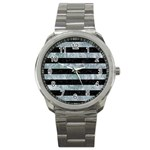 STRIPES2 BLACK MARBLE & ICE CRYSTALS Sport Metal Watch