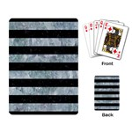 STRIPES2 BLACK MARBLE & ICE CRYSTALS Playing Card