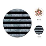 STRIPES2 BLACK MARBLE & ICE CRYSTALS Playing Cards (Round)