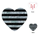 STRIPES2 BLACK MARBLE & ICE CRYSTALS Playing Cards (Heart)