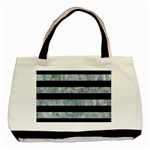 STRIPES2 BLACK MARBLE & ICE CRYSTALS Basic Tote Bag