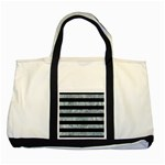STRIPES2 BLACK MARBLE & ICE CRYSTALS Two Tone Tote Bag