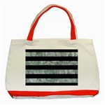 STRIPES2 BLACK MARBLE & ICE CRYSTALS Classic Tote Bag (Red)