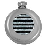 STRIPES2 BLACK MARBLE & ICE CRYSTALS Round Hip Flask (5 oz)