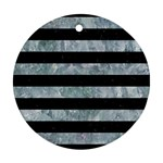 STRIPES2 BLACK MARBLE & ICE CRYSTALS Round Ornament (Two Sides)