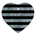 STRIPES2 BLACK MARBLE & ICE CRYSTALS Heart Ornament (Two Sides)