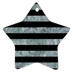 STRIPES2 BLACK MARBLE & ICE CRYSTALS Star Ornament (Two Sides)