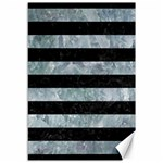 STRIPES2 BLACK MARBLE & ICE CRYSTALS Canvas 12  x 18