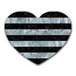 STRIPES2 BLACK MARBLE & ICE CRYSTALS Heart Mousepads