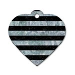 STRIPES2 BLACK MARBLE & ICE CRYSTALS Dog Tag Heart (One Side)