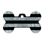 STRIPES2 BLACK MARBLE & ICE CRYSTALS Dog Tag Bone (Two Sides)