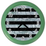 STRIPES2 BLACK MARBLE & ICE CRYSTALS Color Wall Clocks