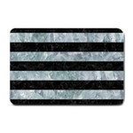 STRIPES2 BLACK MARBLE & ICE CRYSTALS Small Doormat