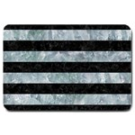STRIPES2 BLACK MARBLE & ICE CRYSTALS Large Doormat