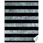 STRIPES2 BLACK MARBLE & ICE CRYSTALS Canvas 11  x 14