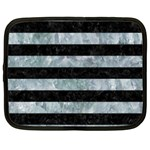 STRIPES2 BLACK MARBLE & ICE CRYSTALS Netbook Case (Large)