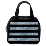 STRIPES2 BLACK MARBLE & ICE CRYSTALS Classic Handbags (One Side)