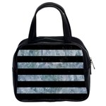 STRIPES2 BLACK MARBLE & ICE CRYSTALS Classic Handbags (2 Sides)
