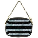 STRIPES2 BLACK MARBLE & ICE CRYSTALS Chain Purses (One Side)