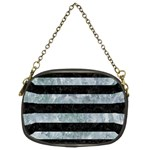 STRIPES2 BLACK MARBLE & ICE CRYSTALS Chain Purses (Two Sides)