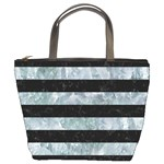 STRIPES2 BLACK MARBLE & ICE CRYSTALS Bucket Bags