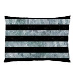 STRIPES2 BLACK MARBLE & ICE CRYSTALS Pillow Case