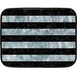 STRIPES2 BLACK MARBLE & ICE CRYSTALS Double Sided Fleece Blanket (Mini)