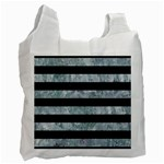 STRIPES2 BLACK MARBLE & ICE CRYSTALS Recycle Bag (One Side)