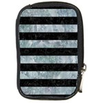 STRIPES2 BLACK MARBLE & ICE CRYSTALS Compact Camera Cases