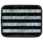 STRIPES2 BLACK MARBLE & ICE CRYSTALS Netbook Case (XL)