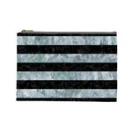 STRIPES2 BLACK MARBLE & ICE CRYSTALS Cosmetic Bag (Large)