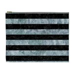 STRIPES2 BLACK MARBLE & ICE CRYSTALS Cosmetic Bag (XL)