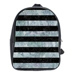 STRIPES2 BLACK MARBLE & ICE CRYSTALS School Bag (Large)
