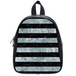 STRIPES2 BLACK MARBLE & ICE CRYSTALS School Bag (Small)