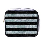 STRIPES2 BLACK MARBLE & ICE CRYSTALS Mini Toiletries Bags