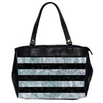 STRIPES2 BLACK MARBLE & ICE CRYSTALS Office Handbags (2 Sides)
