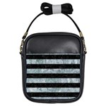 STRIPES2 BLACK MARBLE & ICE CRYSTALS Girls Sling Bags