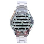 STRIPES2 BLACK MARBLE & ICE CRYSTALS Stainless Steel Analogue Watch