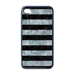 STRIPES2 BLACK MARBLE & ICE CRYSTALS Apple iPhone 4 Case (Black)
