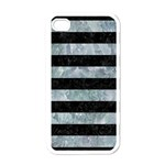 STRIPES2 BLACK MARBLE & ICE CRYSTALS Apple iPhone 4 Case (White)