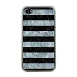 STRIPES2 BLACK MARBLE & ICE CRYSTALS Apple iPhone 4 Case (Clear)