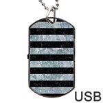STRIPES2 BLACK MARBLE & ICE CRYSTALS Dog Tag USB Flash (One Side)