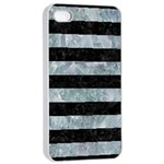 STRIPES2 BLACK MARBLE & ICE CRYSTALS Apple iPhone 4/4s Seamless Case (White)
