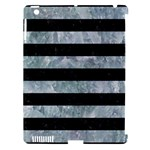 STRIPES2 BLACK MARBLE & ICE CRYSTALS Apple iPad 3/4 Hardshell Case (Compatible with Smart Cover)