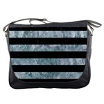 STRIPES2 BLACK MARBLE & ICE CRYSTALS Messenger Bags