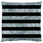 STRIPES2 BLACK MARBLE & ICE CRYSTALS Large Cushion Case (One Side)