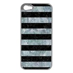 STRIPES2 BLACK MARBLE & ICE CRYSTALS Apple iPhone 5 Case (Silver)